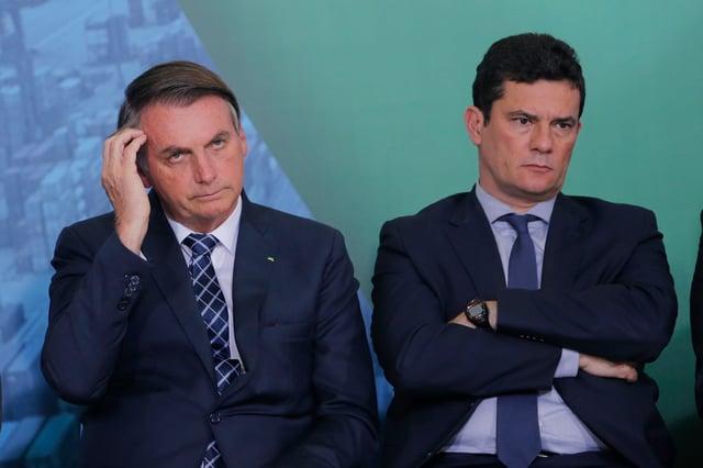 """Bolsonaro alfineta Moro: """"Ministério da Justiça voltou a funcionar muito bem"""""""