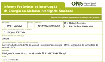 IMAGEM: Desligamento automático de transformador causou novo apagão do Amapá