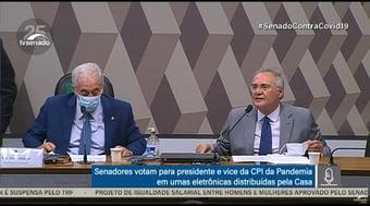 IMAGEM: Sem máscara, Renan Calheiros faz campanha para o filho na CPI
