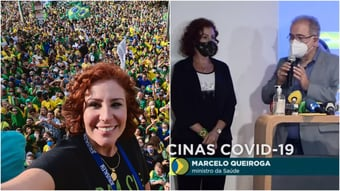 IMAGEM: Carla Zambelli põe a máscara