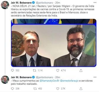 Bolsonaro satisfeito com Ernesto