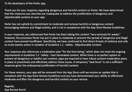 Apple exclui Parler de sua loja