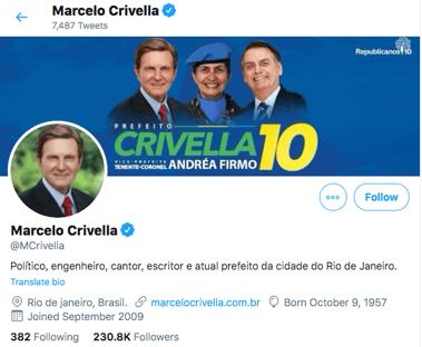 Crivella distribui santinho com Bolsonaro