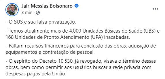 Urgente: Bolsonaro revoga decreto sobre gestão privada de UBS