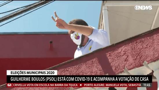"De casa, Boulos exibe cartaz: ""Vamos virar"""