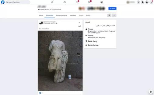 Facebook deleta evidências de tráfico de objetos antigos, dizem pesquisadores