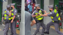 PM aponta arma para colega em briga no centro de SP