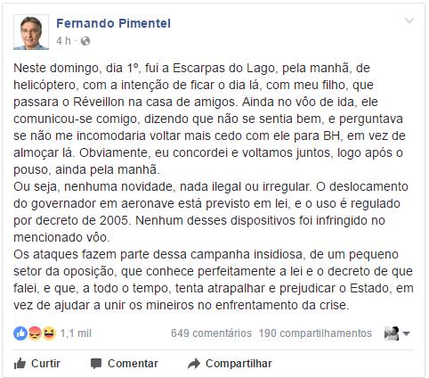 Fernando Pimentel: pode ser legal buscar seu filho de helicóptero do governo de Minas, mas é imoral