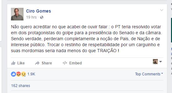 Ciro Gomes descobriu que o PT virou o PMDB da esquerda