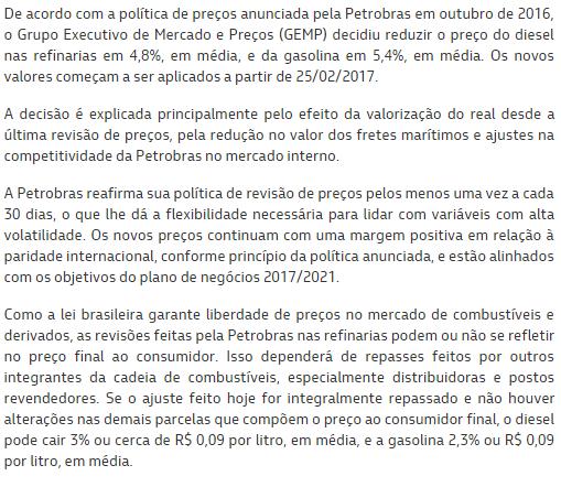 Petrobras reduz preço da gasolina pela 2ª vez em 2017