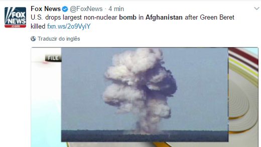 Estados Unidos lançam a maior bomba não nuclear do mundo no Afeganistão