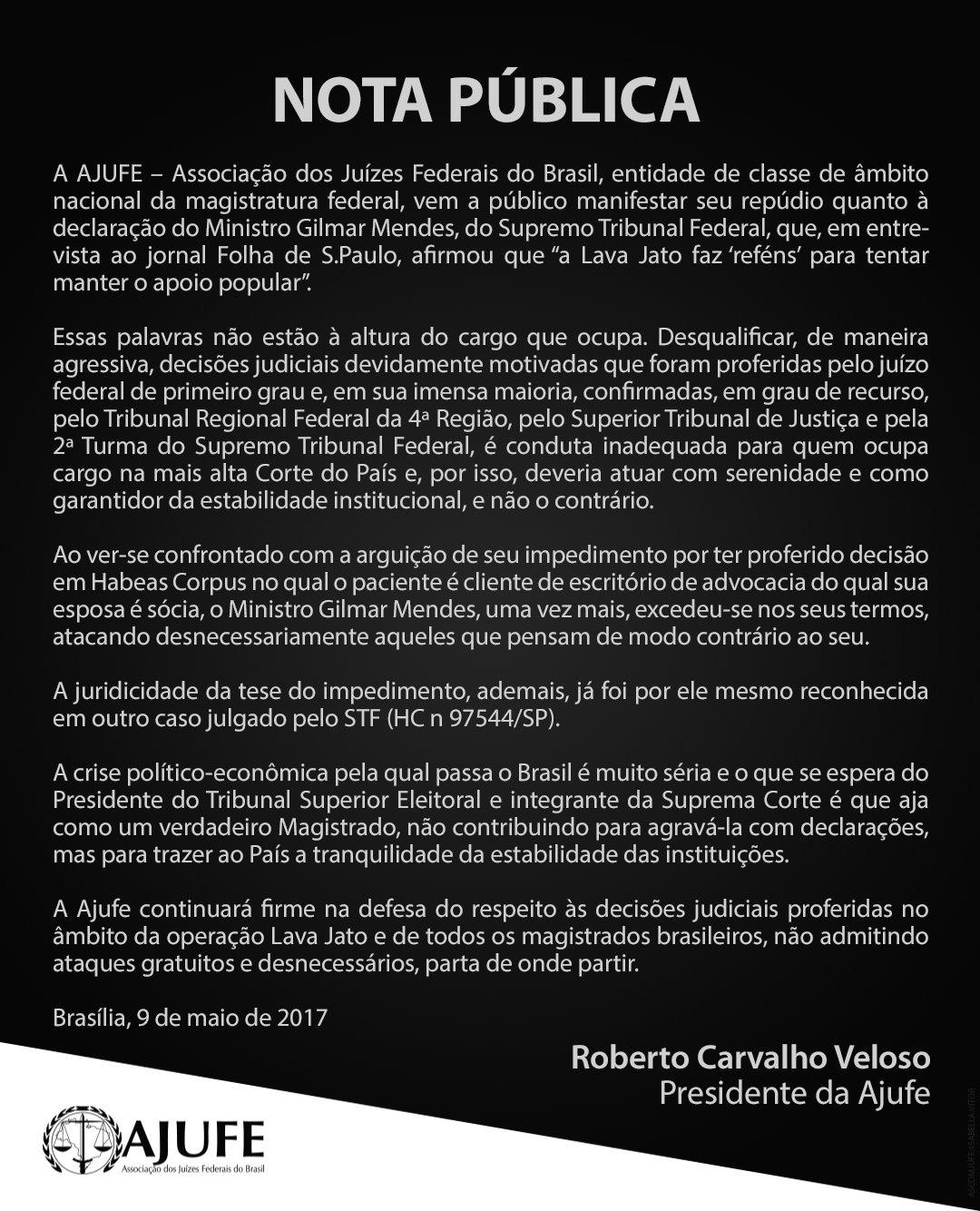 """Associação dos Juízes Federais responde ao """"chefe de jagunços"""" Gilmar Mendes"""