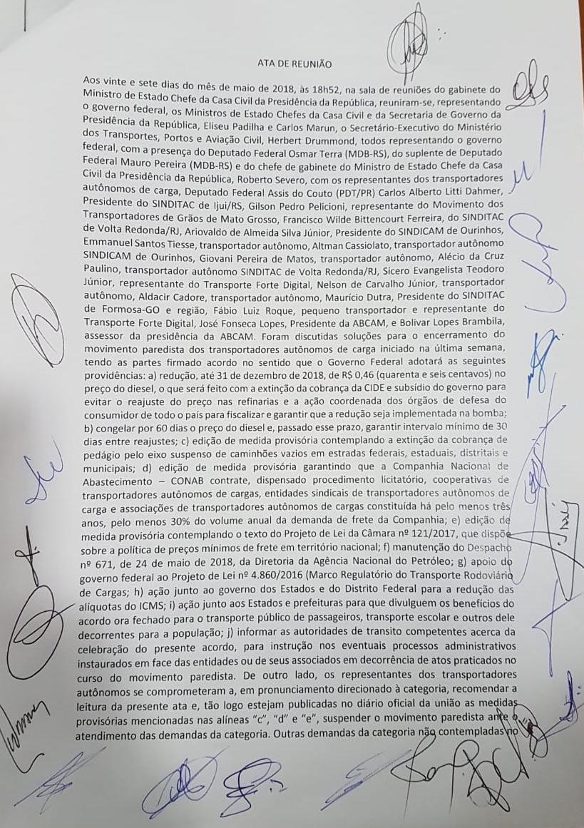Resultado de imagem para O Antagonista teve acesso à ata da reunião que selou o acordo entre o governo e os caminhoneiros autônomos: