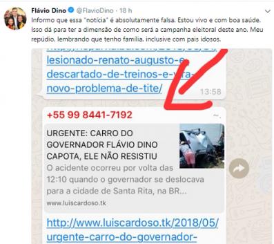 Ontem, no Whatsapp, a maior central de fofocas já inventado pela humanidade, noticiou-se que o governador do Maranhão, Flávio Dino, havia falecido em um acidente de carro. Mais tarde o próprio defunto- que está vivinho da silva!- desmentiu seu falecimento através do Twitter. Saco!