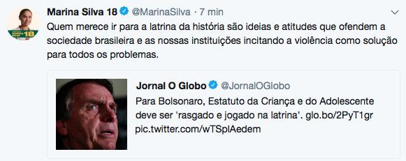 Marina Joga Bolsonaro Na Latrina O Antagonista