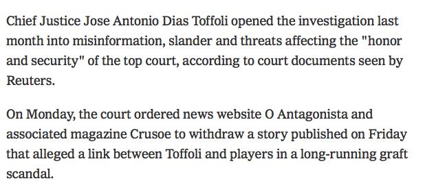 oantagonista.com - Diogo Mainardi - Censura do STF no New York Times