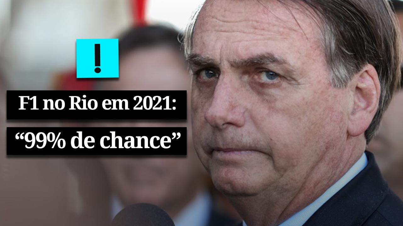"""Bolsonaro: """"99% de chance"""" de Fórmula 1 ir para o Rio"""