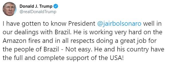 Resultado de imagem para twitter trump elogiando bolsonaro amazonia