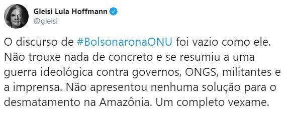 """Gleisi diz: O pronunciamento de Bolsonaro na ONU """"foi vazio como ele"""""""