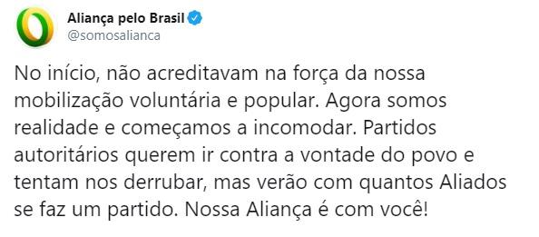"""Aliança Pelo Brasil: """"Começamos a incomodar"""""""