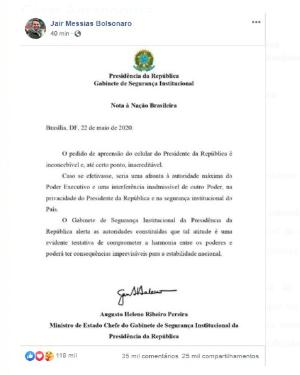 BOLSONARO COMPARTILHA NOTA DE AUGUSTO HELENO