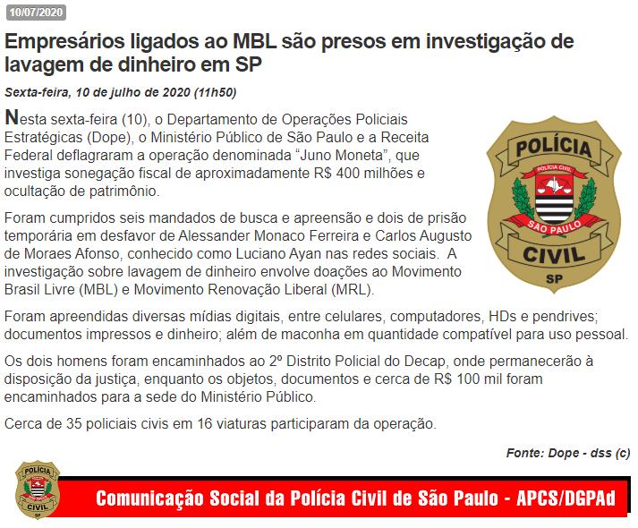 Operação da Civil que atingiu o MBL encontrou R$ 100 mil, cocaína e maconha