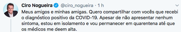 Ciro Nogueira está com Covid-19