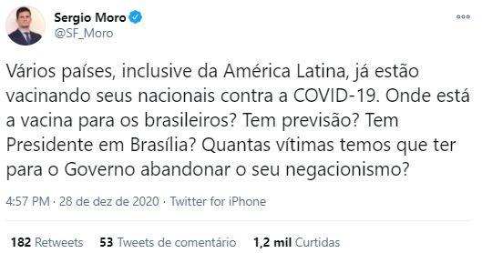 Sérgio Moro questiona Governo sobre Plano de Vacinação