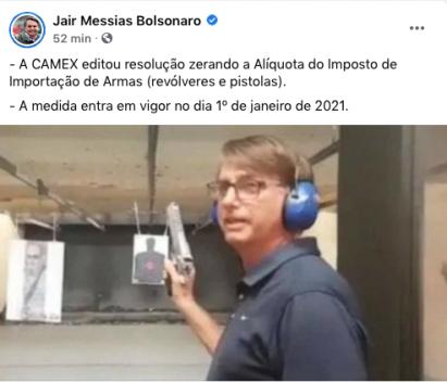 bolsonaro zera aliquota de armas de fogo importadas