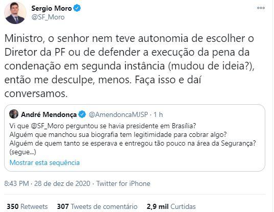 Sérgio Moro rebate questionamentos de Ministro da Justiça