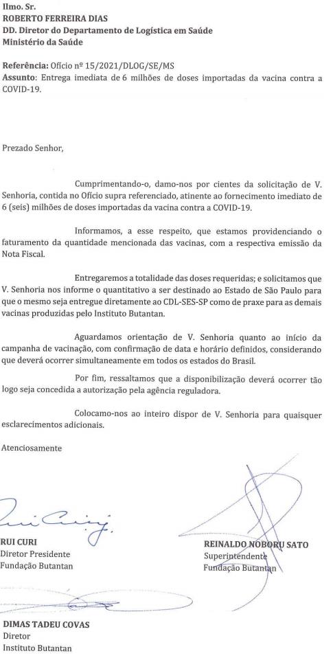 Governo de São Paulo Confirma Entrega de Coronavac para Governo