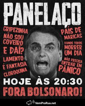 Movimentos Pedem Panelaço e Impeachment de Bolsonaro
