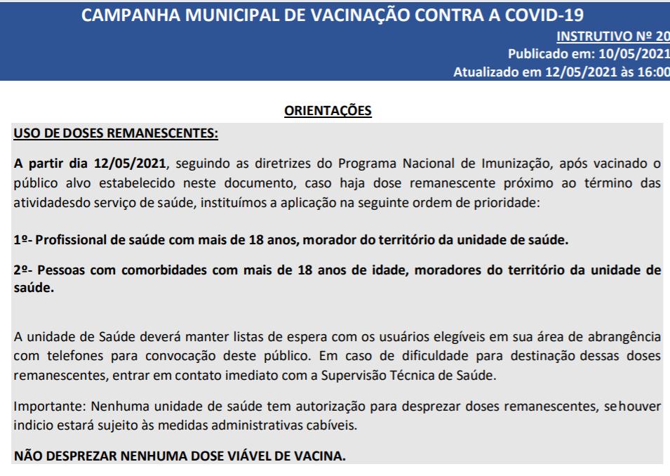 Prefeitura de São Paulo libera 'xepa' da vacina a maiores de 18 anos com comorbidades